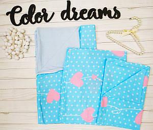 Комплект постельное белье в кроватку ребенку  двухцветное Сердца с голубым