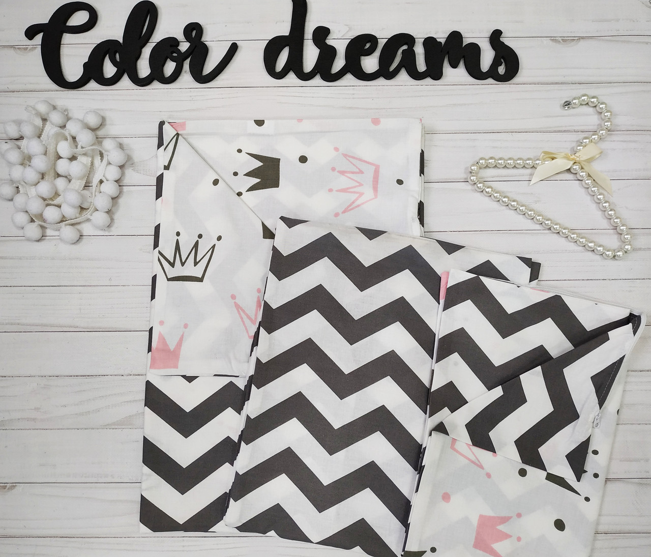 Комплект постельное белье в кроватку ребенку  двухцветное Розовые короны