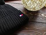 Шапка  мужская брендовая черная   на флисе (реплика), фото 2
