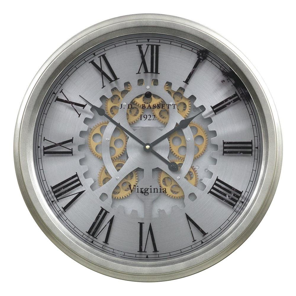 Настенные часы из металла и стекла  53x9 см Retro Silver