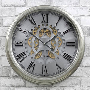 Настенные часы из металла и стекла  53x9 см Retro Silver, фото 2