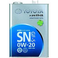 Оригинальное Японское моторное масло Toyota MOTOR OIL SN/GF-5 0W-20 4L
