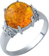 Серебряное кольцо SilverBreeze с янтарем (1912966) 19 размер