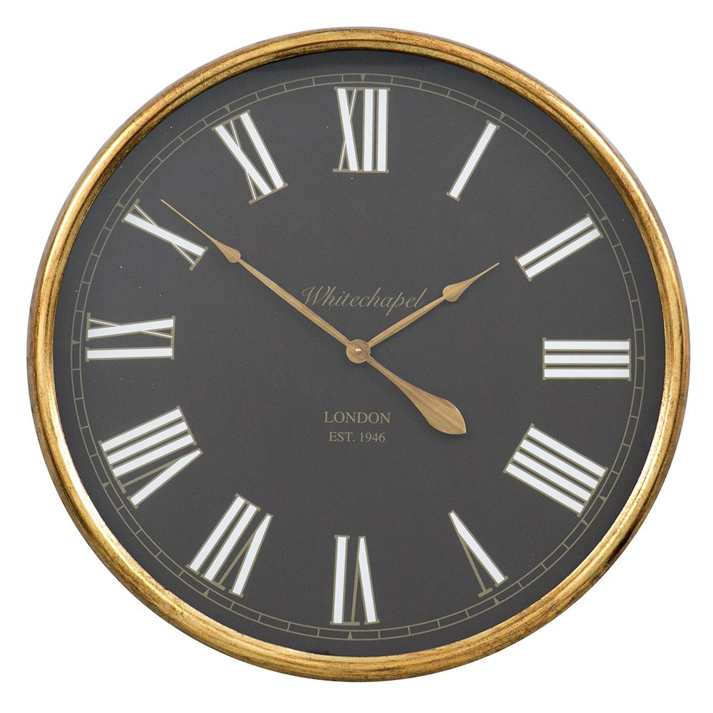 Настенные часы из металла и стекла  80x10 см Retro Golden