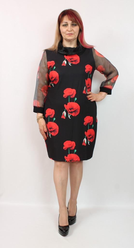Турецкое нарядное женское платье с принтом Маки, больших размеров 50-62