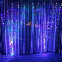 Гирлянда светодиодная Штора, с эффектом дождя, 320LED, размер 300х200см(3х2м), цвет мульти, фото 1