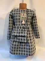 """Детское платье для девочки с сумочкой в клетку""""М"""" 3-6лет,серого цвета"""