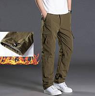 Зимние мужские двухслойные флисовые штаны брюки хаки
