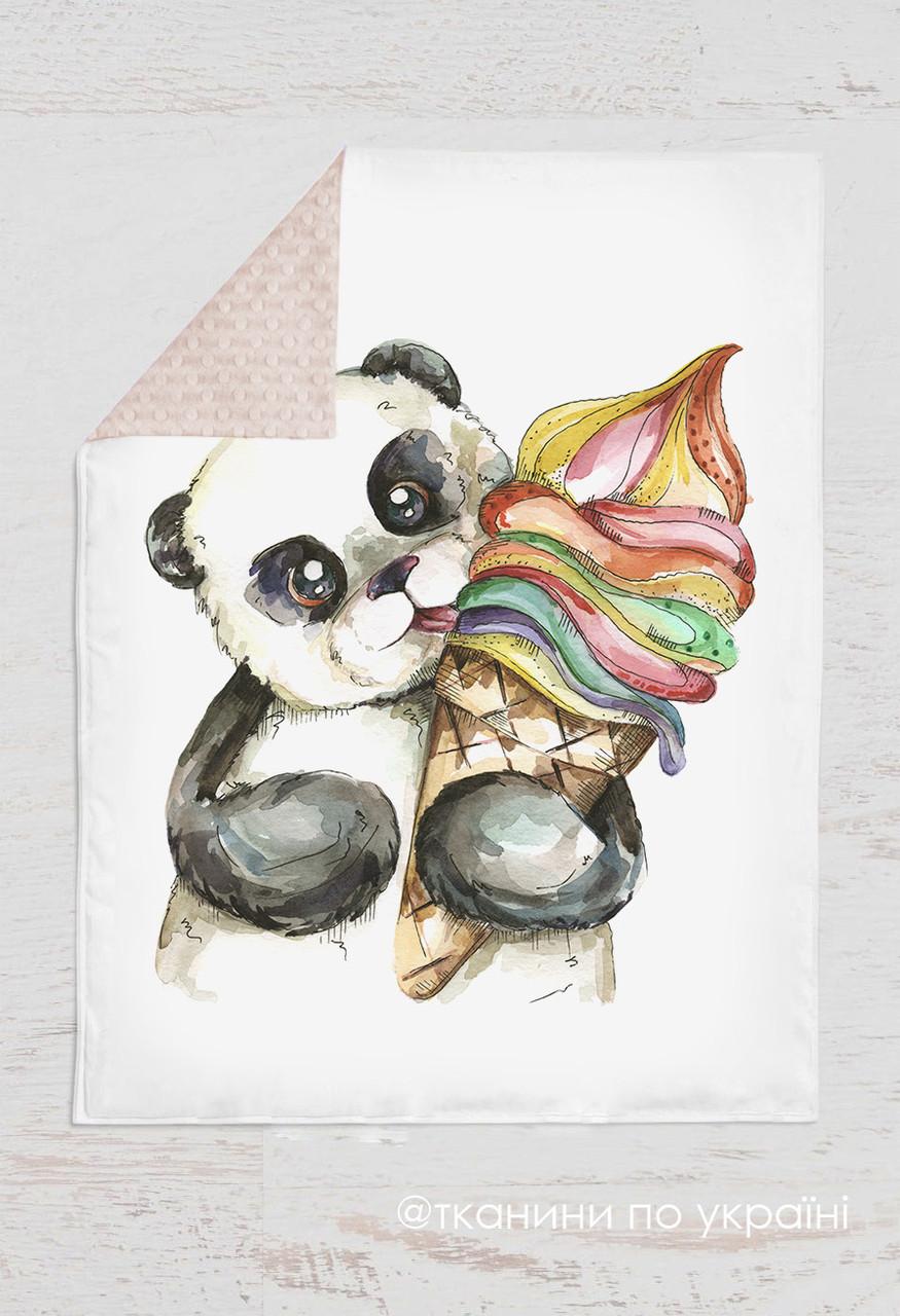 Панелька  Премиум сатин Панда с мороженным 100*75