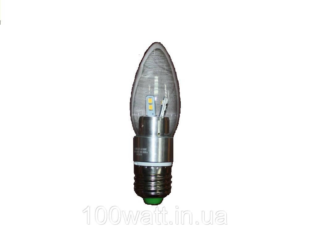 Лампа LED Е27 4100K 4,5W LUMEN cвеча прозрачная
