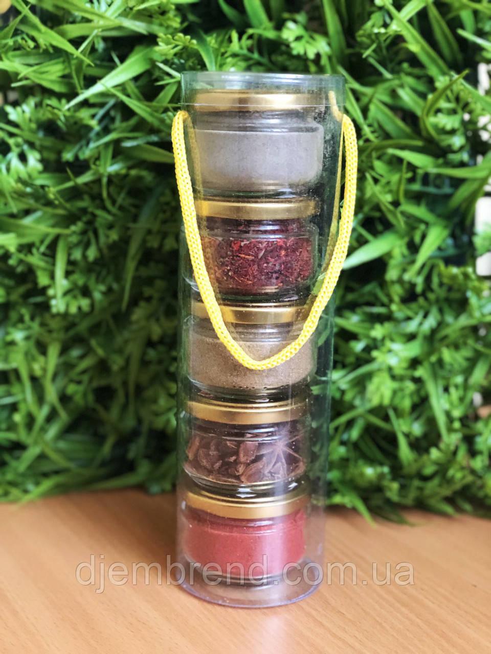Подарочный набор из специй : аджика, бадьян, для плова, зира, черный перец