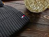 Шапка мужская брендовая темно-серая на флисе (реплика), фото 3