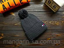 Шапка мужская брендовая темно-серая на флисе (реплика)