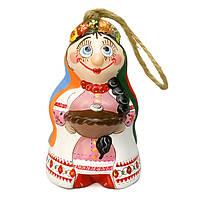 Колокольчик керамический Казачка с хлебом и солью