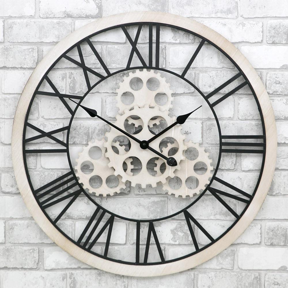 Часы настенные металлические в стиле лофт - Wooden Gears 70 cm