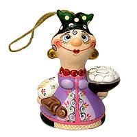 Колокольчик из керамики Казачка со скалкой и вареникаим