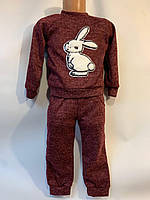 """Детский костюм для девочек """"Зайка"""" 2-5лет, бордового цвета"""