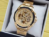 Мужские механические часы скелетоны с автоподзаводом Forsining золотого цвета на стальном браслете, CW507