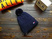 Шапка мужская брендовая темно-синяя на флисе (реплика)