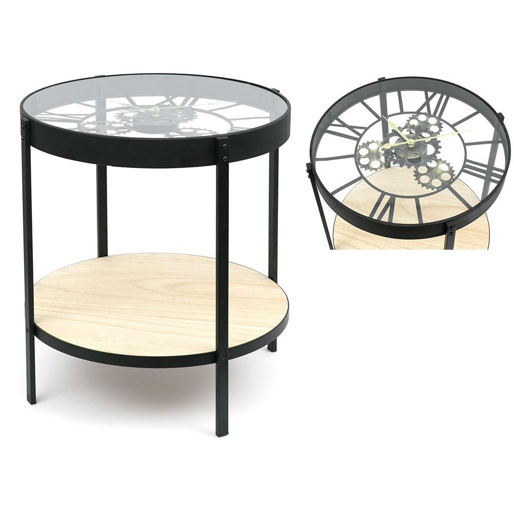 Журнальный столик с часами - Steel Gears 50 cm