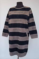 Меховое женское платье свободного размера с карманами