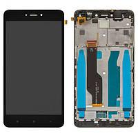 Дисплейный модуль (экран и сенсор) для Xiaomi Redmi Note 4X, с рамкой, черный, Snapdragon, оригинал