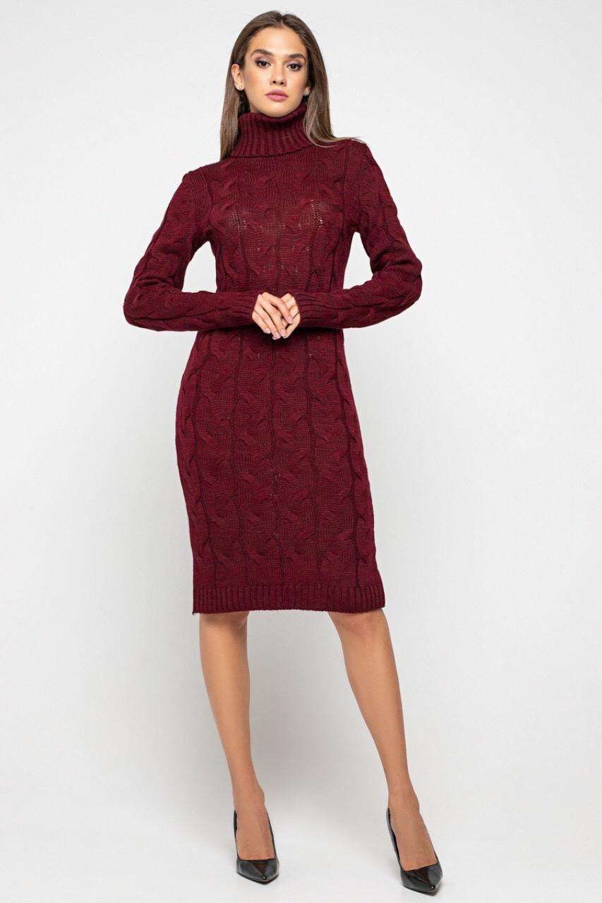 Вязаное платье Скай 42-48 бордо