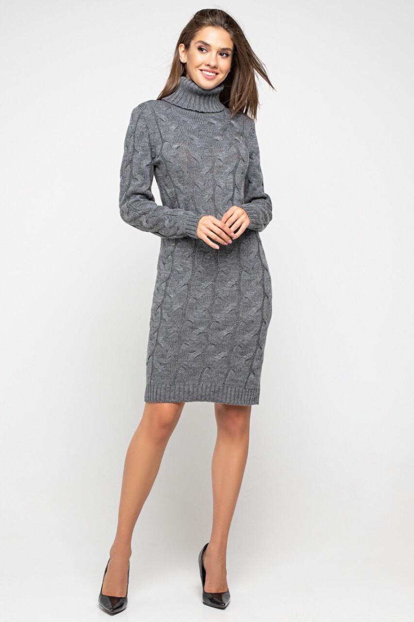 Вязаное платье Скай 42-48 графит