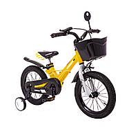 Детский Велосипед с корзинкой легкий магниевая рама HAMMER HUNTER-1450D Желтый