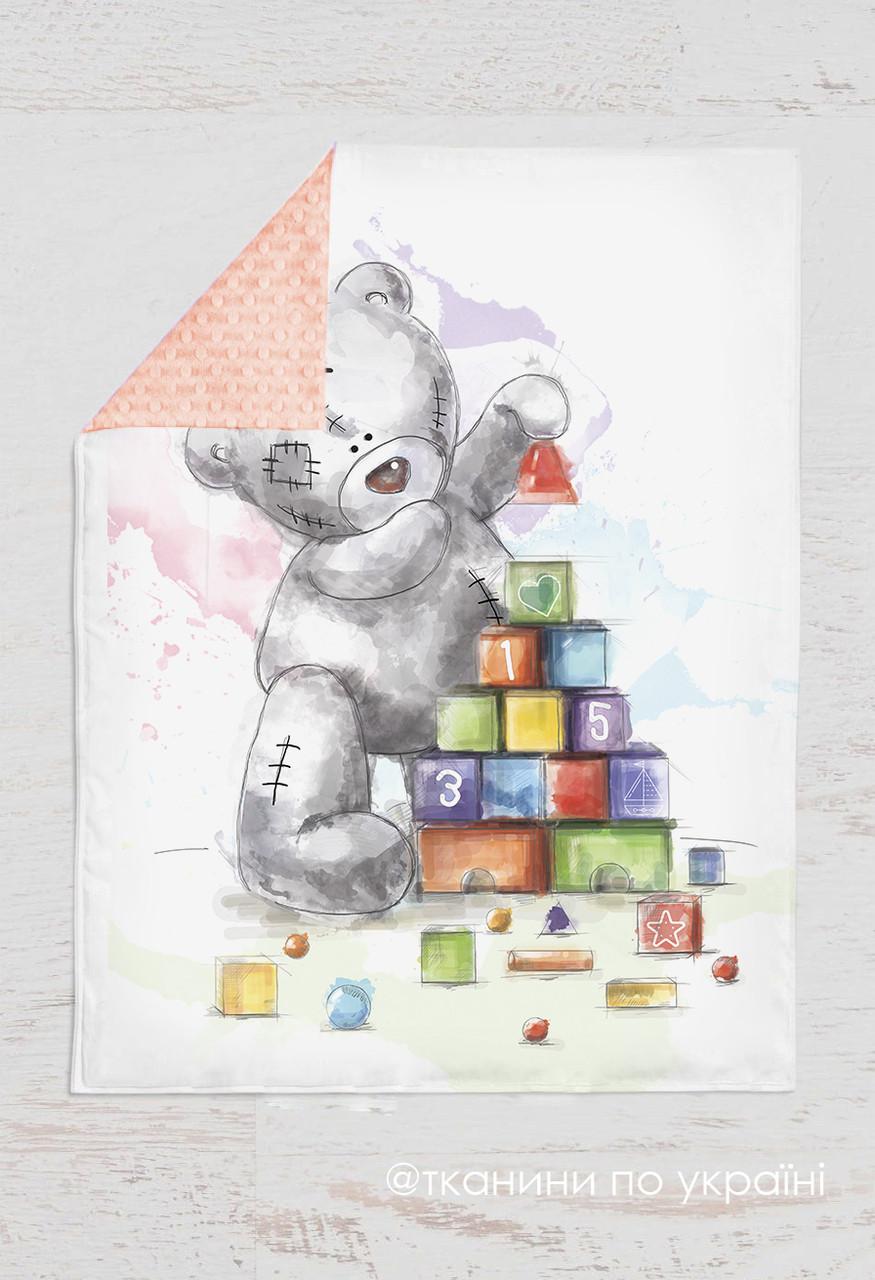 Панелька Премиум сатин Мишка Тедди с кубиками 100*75