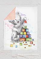 Панелька Премиум сатин Мишка Тедди с кубиками 100*75, фото 1