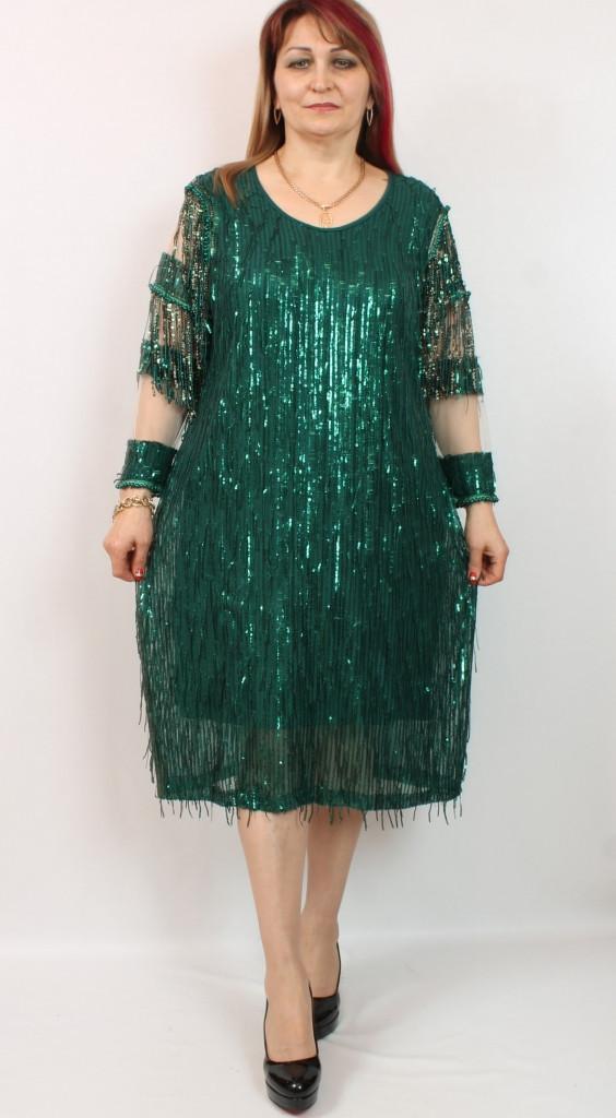 Турецкое женское блестящее платье в пайетках, размеры 54-62