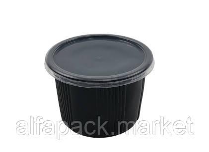Супная емкость ПП-115, 500мл с крышкой (чёрная) (500 шт в упаковке) 010100007