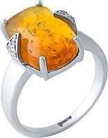Серебряное кольцо SilverBreeze с янтарем (1965566) 17.5 размер