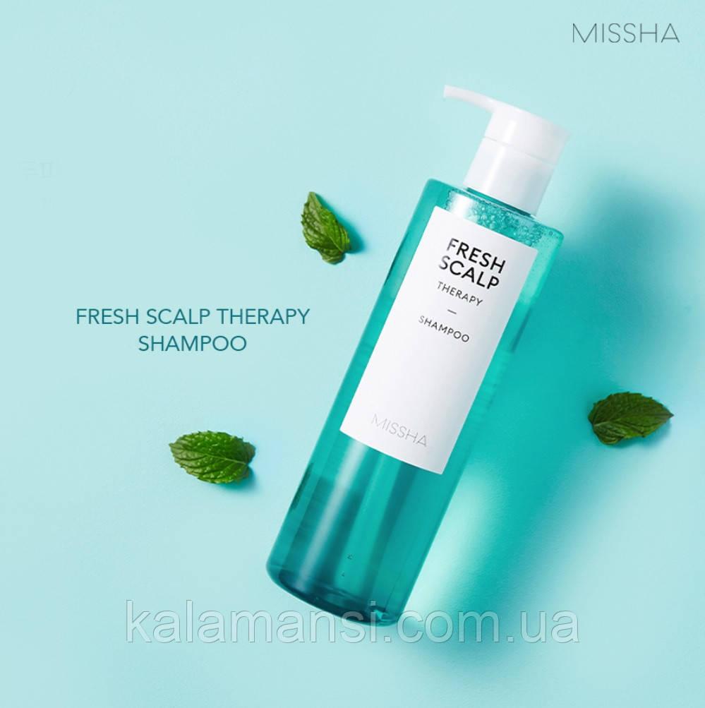 Шампунь для жирных волос с мятой и AHA-кислотами   Missha Fresh Scalp Therapy Shampoo   380 мл