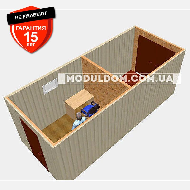 Вагончик под офис (6 х 2.4 м.) со складским помещением, на основе цельно-сварного металлокаркаса.