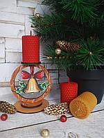 """Новогодний подсвечник со свечой """"Рождественский колокольчик"""" Высота 12.5 см"""