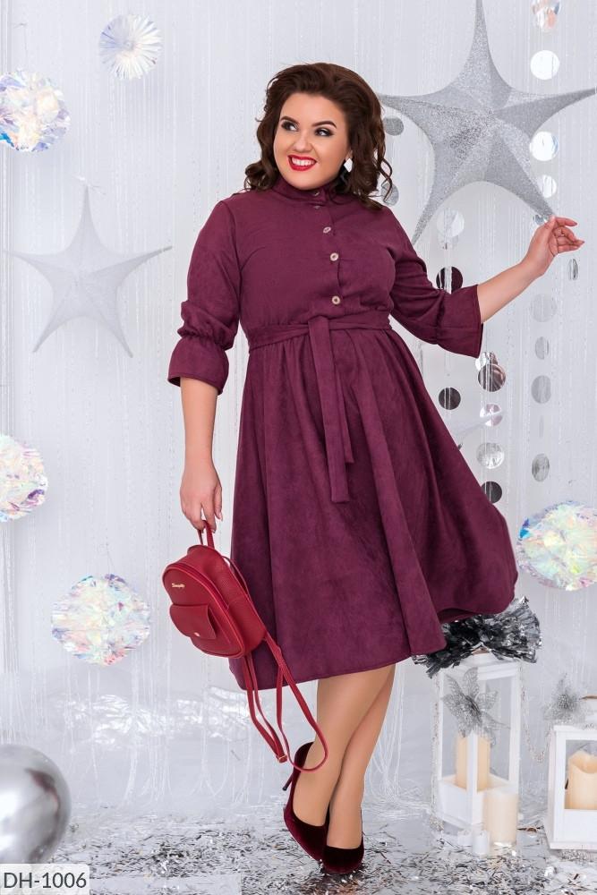 Платье  БАТАЛ миди замш в расцветках 1605107