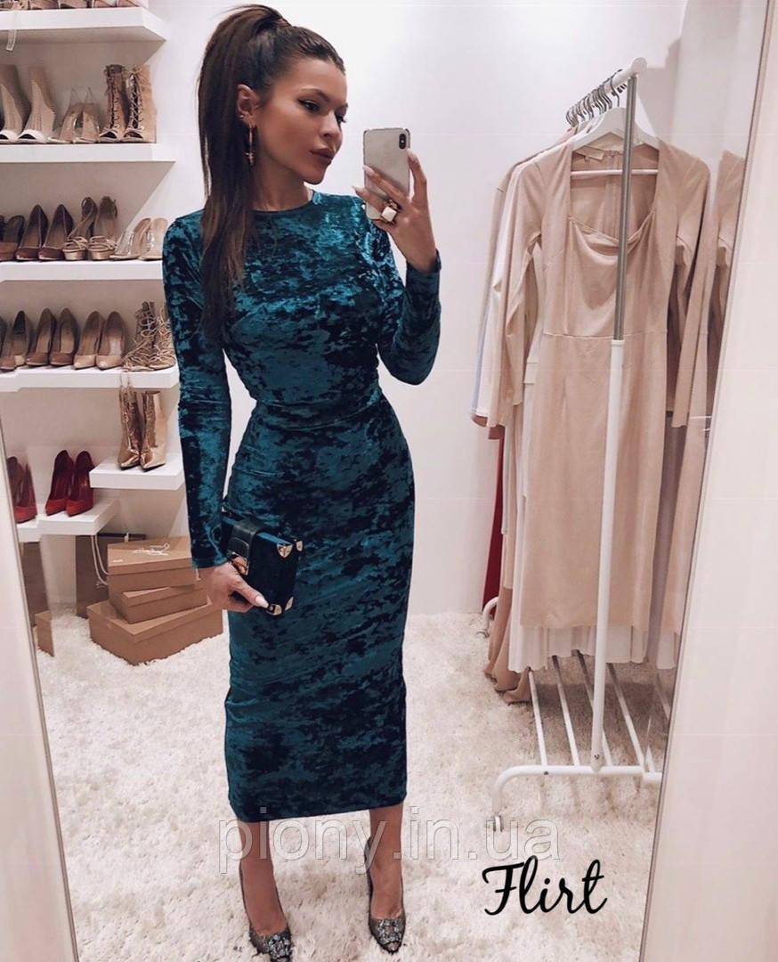 Женское Бархатное Платье миди
