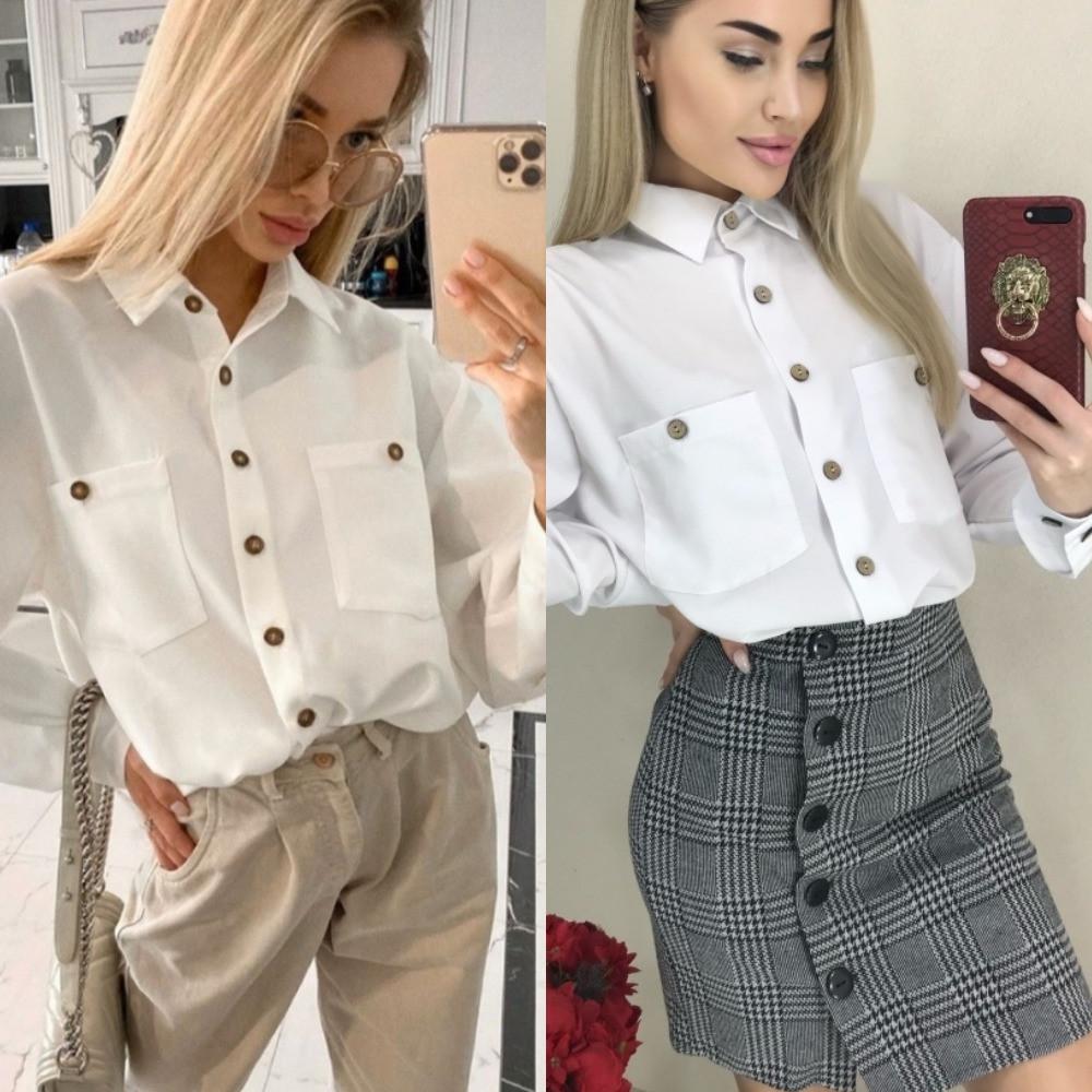 Блуза женская классическая, белая, офисная, длинный рукав, на пуговицах, повседневная, модная, стильная