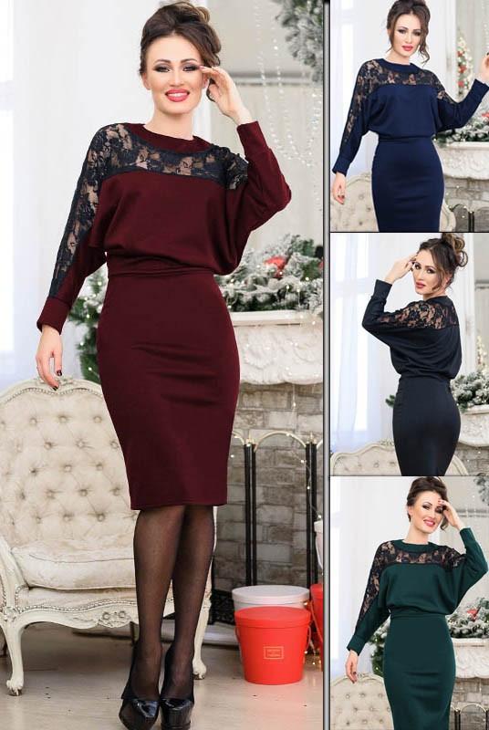 Женское платье с кружевом норма и большого размера
