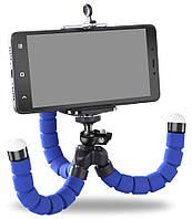Гибкий мини штатив тринога трипод для телефона и камеры 25 см (осьминог, паук) Синий