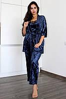 БОЛЬШИЕ РАЗМЕРЫ!Домашняя одежда, бархатный комплект халат и пижама( майка+штаны) 52