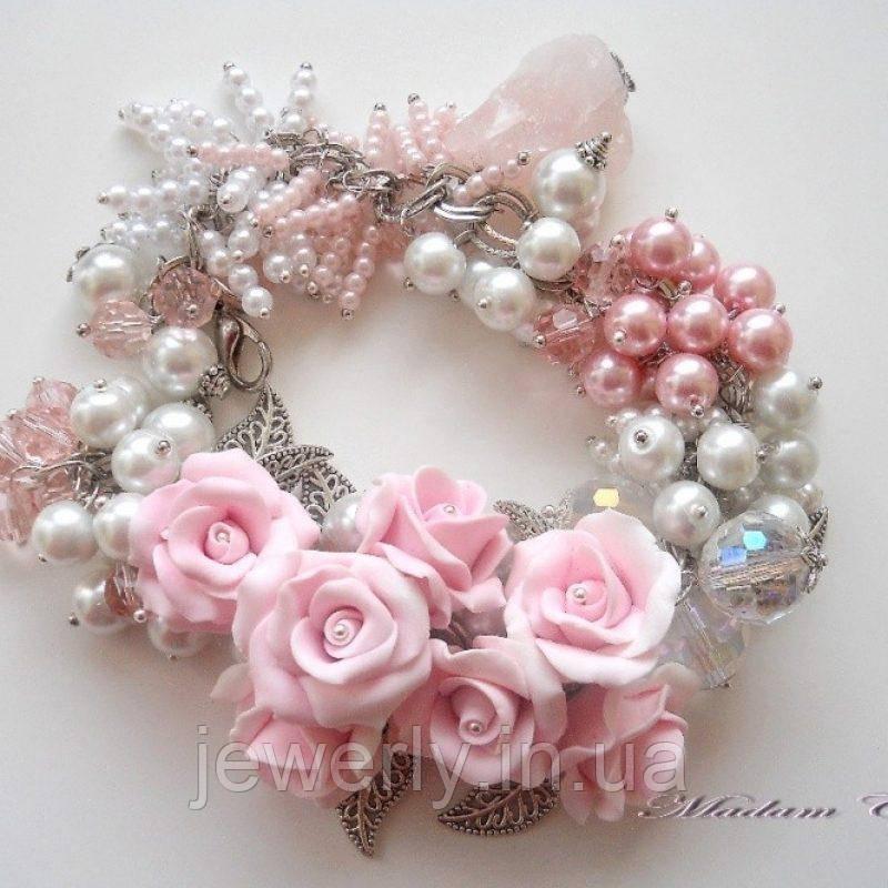 Браслет с розовым кварцем