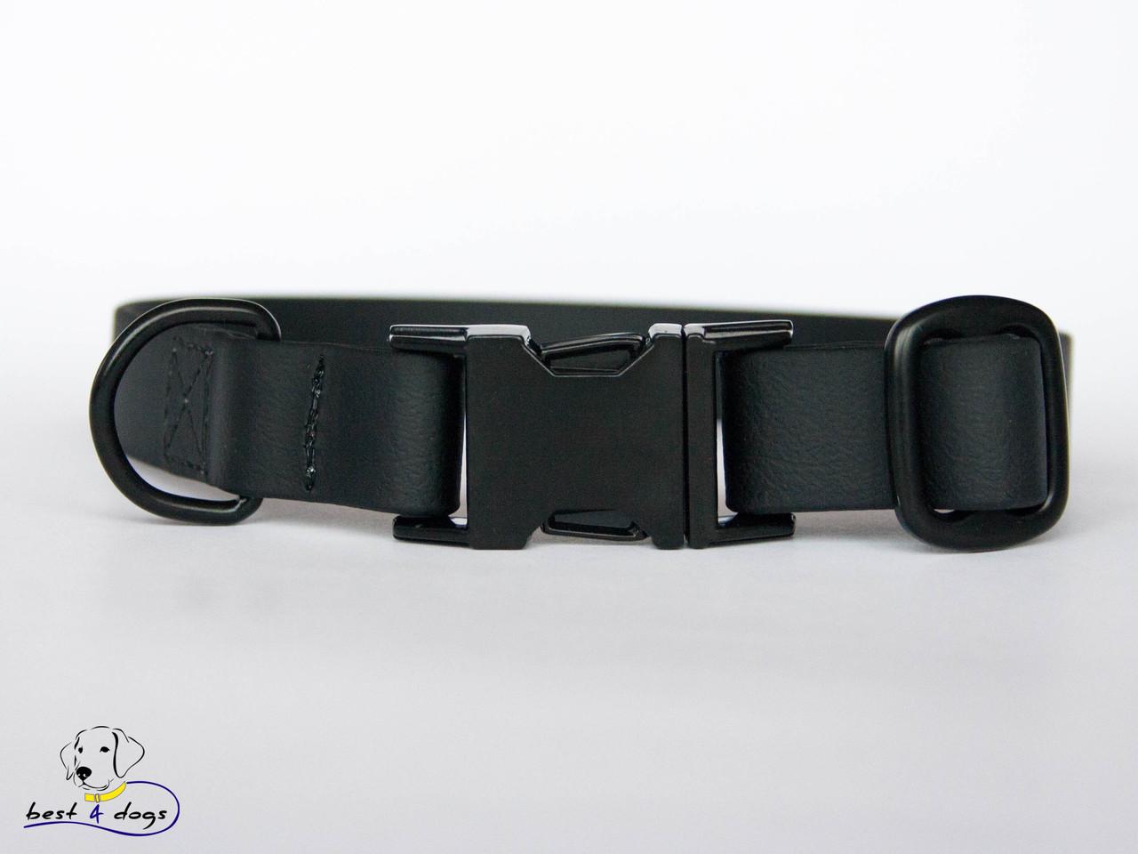 Ошейник из биотана, Черный, 25мм(с черным фастексом)