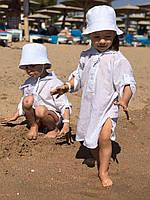 Детская пляжная туника белая хлопок