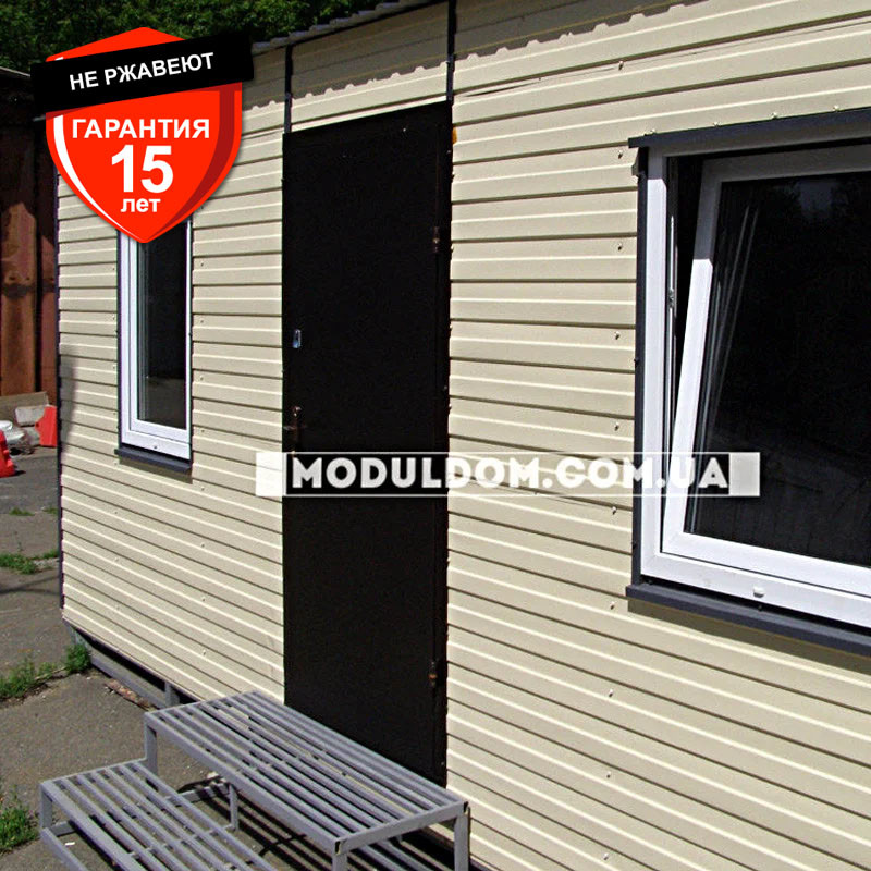 Мобильный офис (6 х 2.4 м.), 2 комнаты с тамбуром, на основе цельно-сварного металлокаркаса.