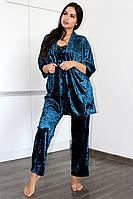 БОЛЬШИЕ РАЗМЕРЫ!Домашняя одежда, велюровый комплект для сна халат и пижама( майка+штаны)