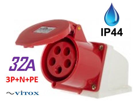 Розетка силоваястационарная125 3Р+РЕ+N 32А 380-415В IP44 IEK
