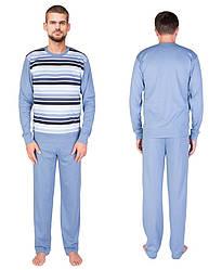 Пижама мужская с штанами хлопковая трикотажная домашняя длинный рукав Украина
